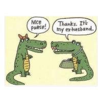 Funny Ex Husband Alligator Purse Postcard
