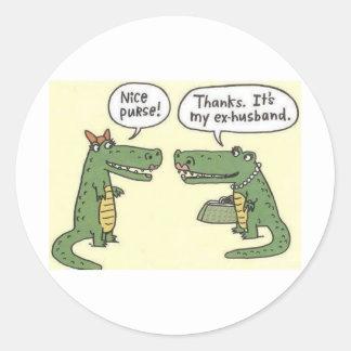 Funny Ex Husband Alligator Purse Round Stickers