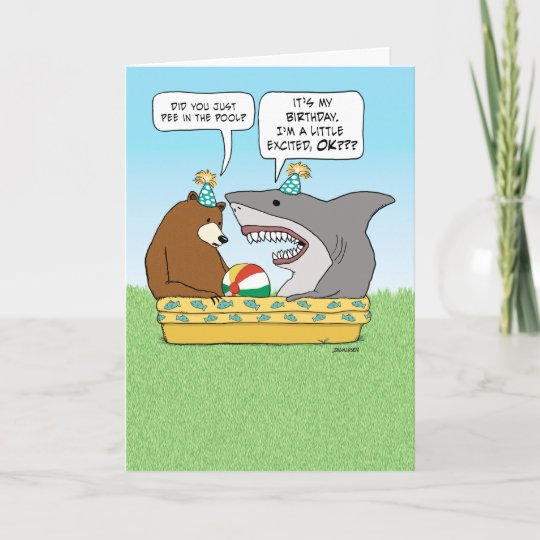 Funny Excited Shark Birthday Card Zazzle