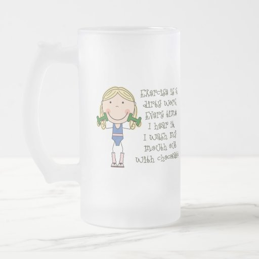 Funny Exercise Gift 16 Oz Frosted Glass Beer Mug