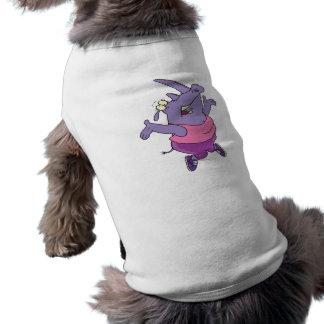 funny exercising rhino work out cartoon doggie shirt