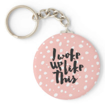 Funny expression coral white modern polka dots keychain