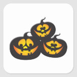Funny Expressions Halloween Pumpkins Square Sticker