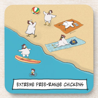Funny Extreme Free-Range Chickens Drink Coaster