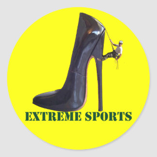 Funny Extreme Sports - Shoe Climbing Classic Round Sticker