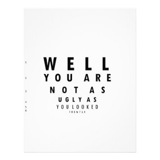 Funny Eyechart You are not as ugly Letterhead Template