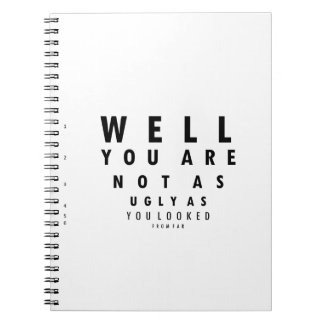 Funny Eyechart You are not as ugly Spiral Notebooks