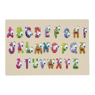 Funny Face Animals Alphabet Laminated Placemat