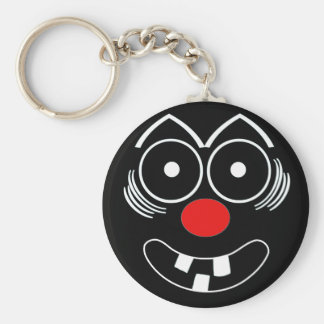 Funny Face Basic Round Button Keychain