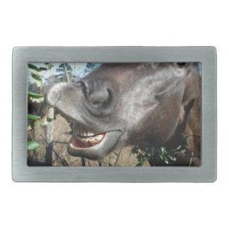 Funny Face brown horse Rectangular Belt Buckle