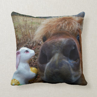 Funny Face Brown horse & Easter Bunny Pillow