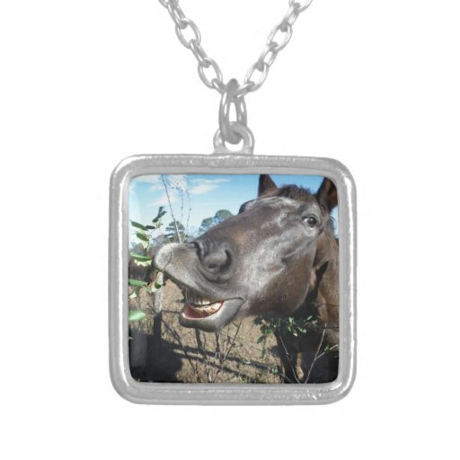 Funny Face brown horse Custom Necklace