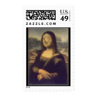 Funny Face Mona Lisa Laughter Postage