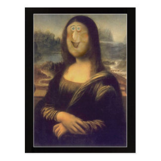 Funny Face Mona Lisa Laughter Postcard