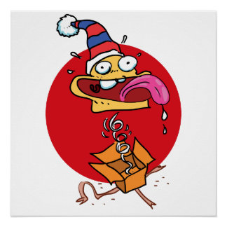 funny face out of the surprise gift box cartoon poster