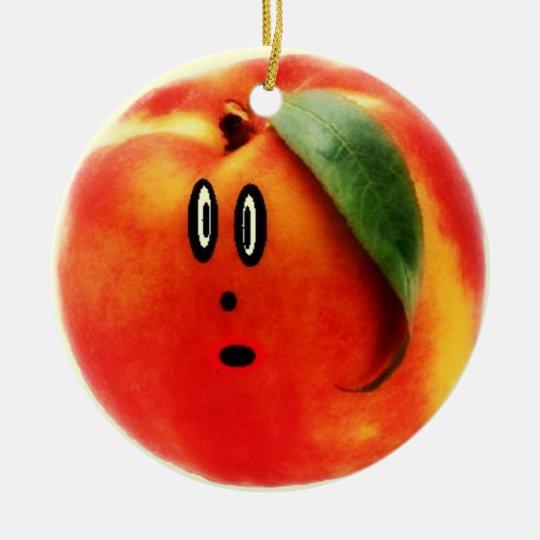 Funny Face Peach Ceramic Ornament
