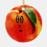 Funny Face Peach Double-Sided Ceramic Round Christmas Ornament