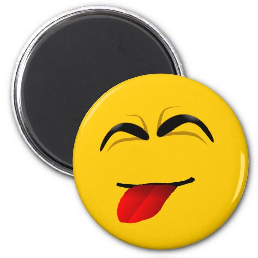 FUNNY FACE SMILEY 2 INCH ROUND MAGNET