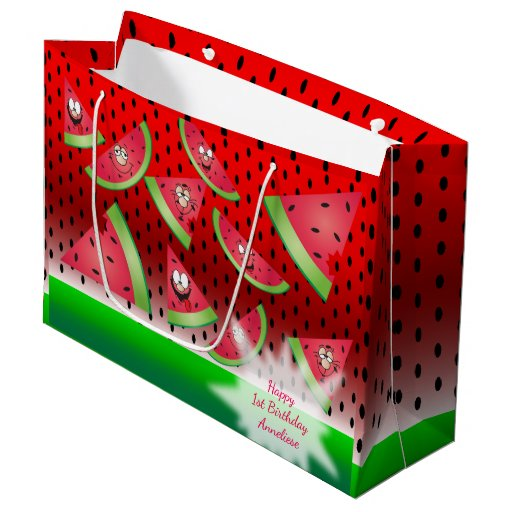 Funny Face Watermelon Kid's Birthday Large Gift Bag