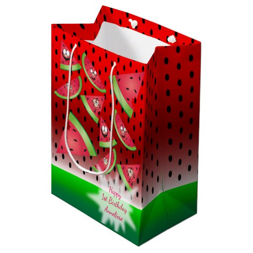 Funny Face Watermelon Kid's Birthday Medium Gift Bag