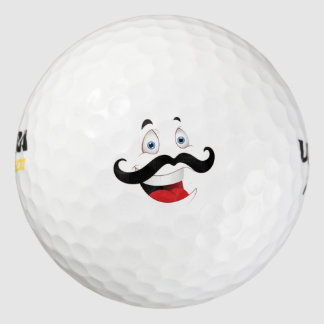 Funny Face with Mustache Golf Balls