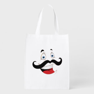 Funny Face with Mustache Grocery Bag