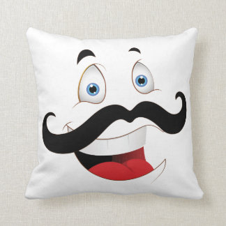 Funny Face with Mustache Pillow