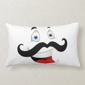 Funny Face with Mustache Throw Pillows