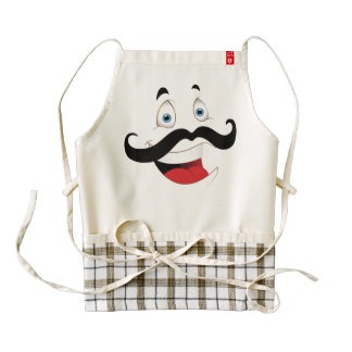 Funny Face with Mustache Zazzle HEART Apron