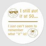 Funny Faces 50th Birthday Gag Gifts Round Stickers