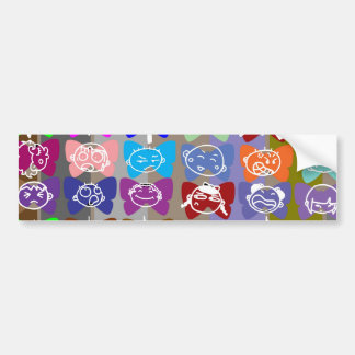 Funny Faces,  Chinese Characters and Sparkles Bumper Sticker