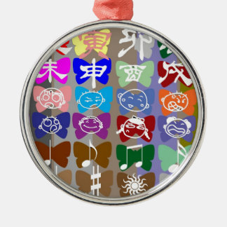 Funny Faces,  Chinese Characters and Sparkles Round Metal Christmas Ornament