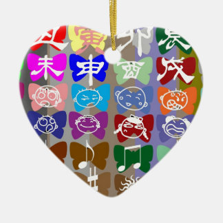 Funny Faces,  Chinese Characters and Sparkles Double-Sided Heart Ceramic Christmas Ornament