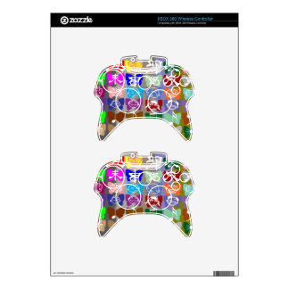 Funny Faces,  Chinese Characters and Sparkles Xbox 360 Controller Skin