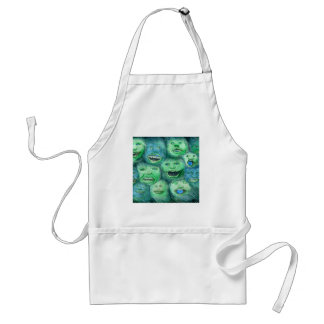 Funny Faces. Fun Cartoon Monsters. Green. Aprons