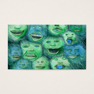 Funny Faces. Fun Cartoon Monsters. Green. Business Card