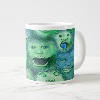 Funny Faces. Fun Cartoon Monsters. Green. Giant Coffee Mug
