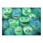 Funny Faces. Fun Cartoon Monsters. Green. 5x7 Paper Invitation Card