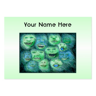 Funny Faces. Fun Cartoon Monsters. Green. Large Business Card