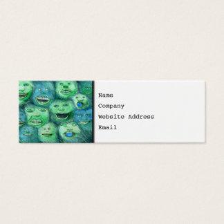 Funny Faces. Fun Cartoon Monsters. Green. Mini Business Card