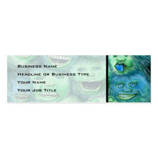 Funny Faces. Fun Cartoon Monsters. Green. Mini Business Card