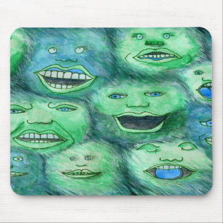 Funny Faces. Fun Cartoon Monsters. Green. Mousepads