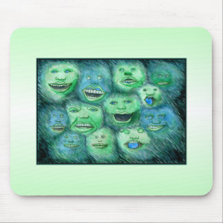 Funny Faces. Fun Cartoon Monsters. Green. Mouse Pad