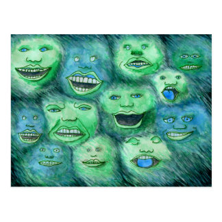Funny Faces. Fun Cartoon Monsters. Green. Post Card