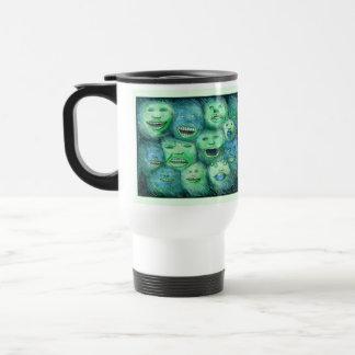 Funny Faces. Fun Cartoon Monsters. Green. Travel Mug