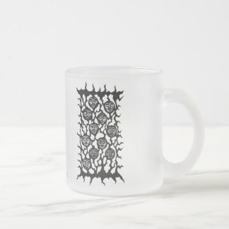 Funny faces ink pen drawing frosted glass coffee mug