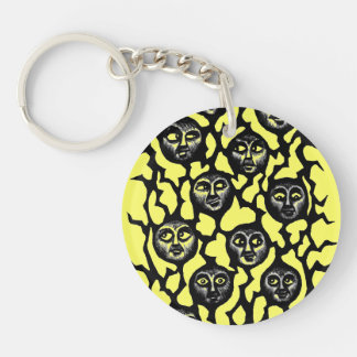 Funny faces ink pen drawing keychain