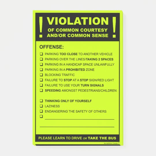 Funny fake parking ticket driving citation post it notes for Free fake parking ticket template