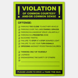 Funny Fake Parking Ticket Driving Citation Post It Notes