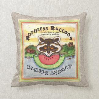 Funny Fake Rustic Resort Raccoon Throw Pillow